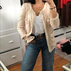 Ivory/pale blush sequin blazer. Size S